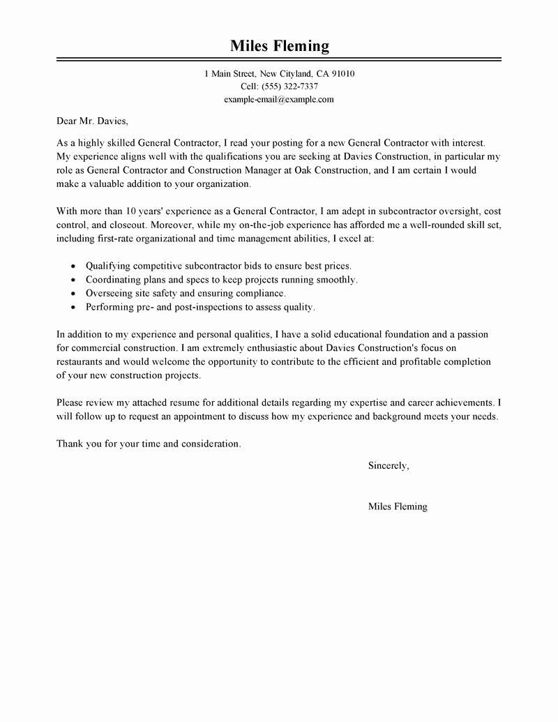 Contractor Engagement Letter Luxury Best General Contractor Cover Letter Examples