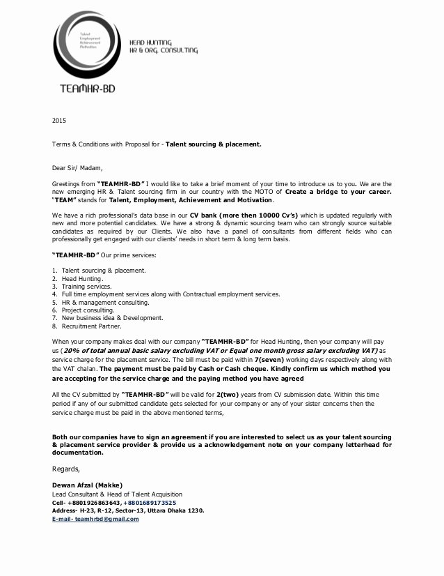 Contractor Engagement Letter Luxury Proposal Letter with Terms & Conditions