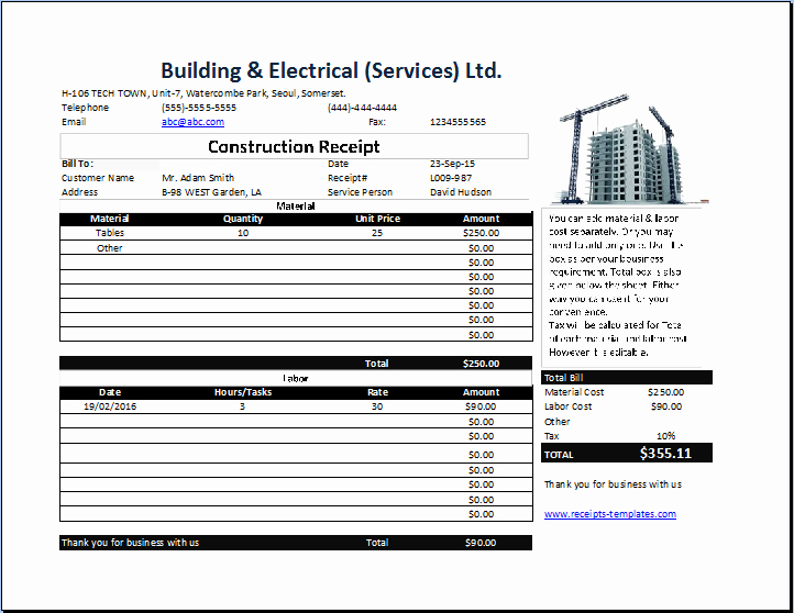 Contractor Receipt Of Payment Best Of Construction Receipt Template Free