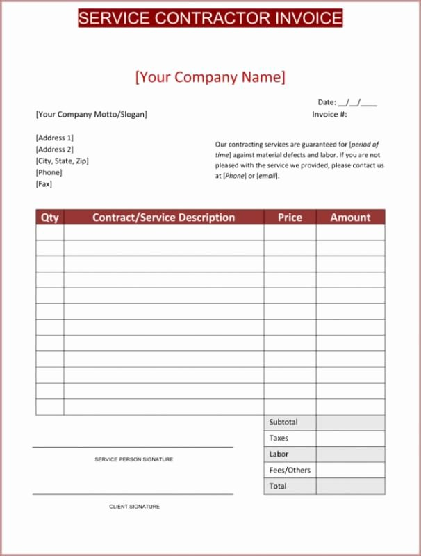 Contractor Receipt Of Payment Fresh Contractor Invoice Template Template