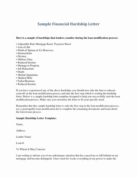 Contribution Letter for Loan Modification Sample Lovely Hardship Letter for Loan Modification
