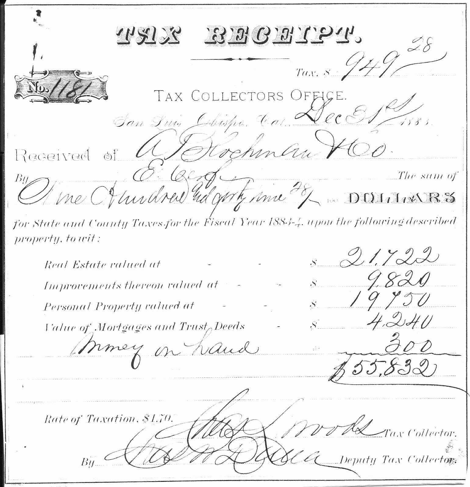 Copy Of A Receipt Lovely Cerf Ancestry Moses and Ernest Cerf Slo Land Purchases