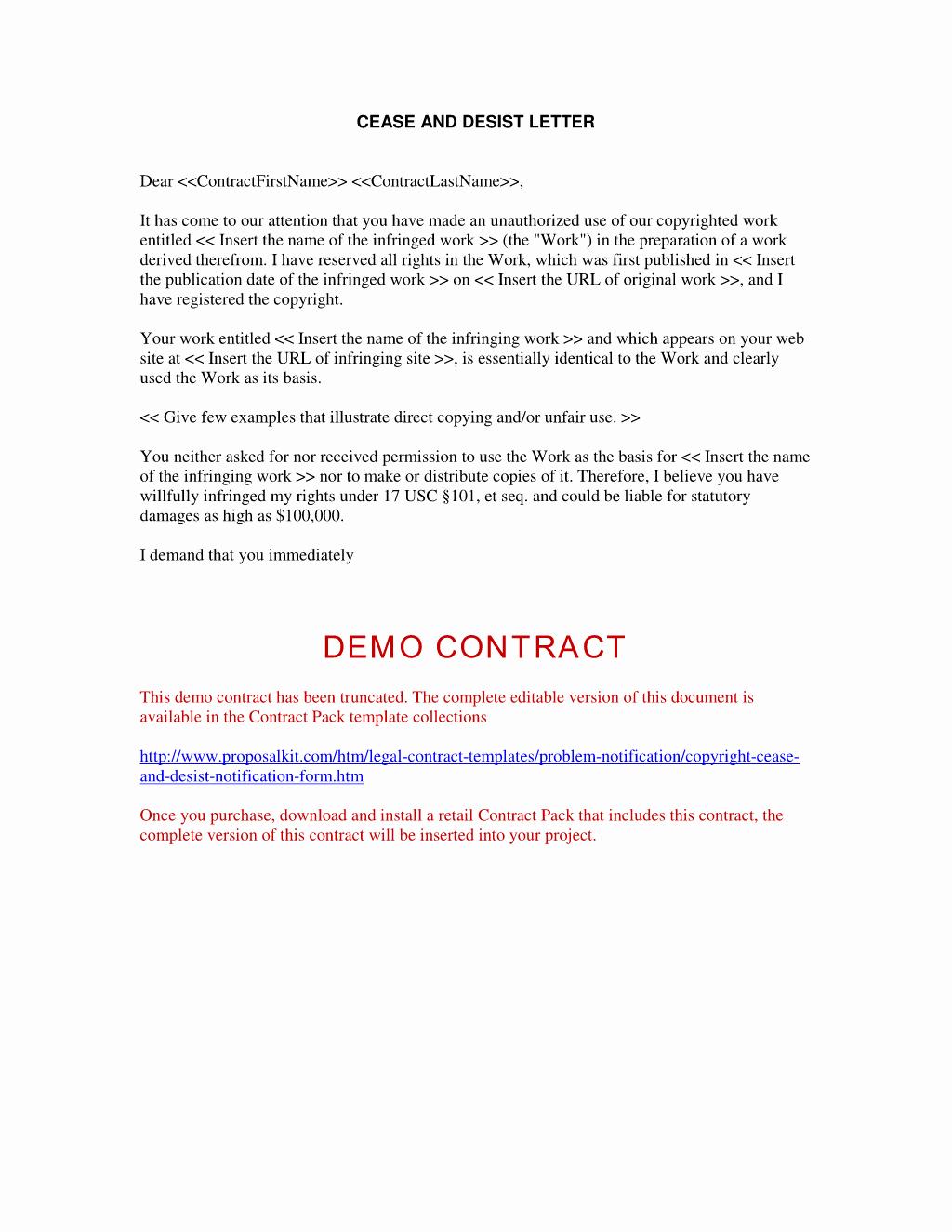 Copyright Cease and Desist Letter Elegant Trademark Cease and Desist Letter Sample Free Printable