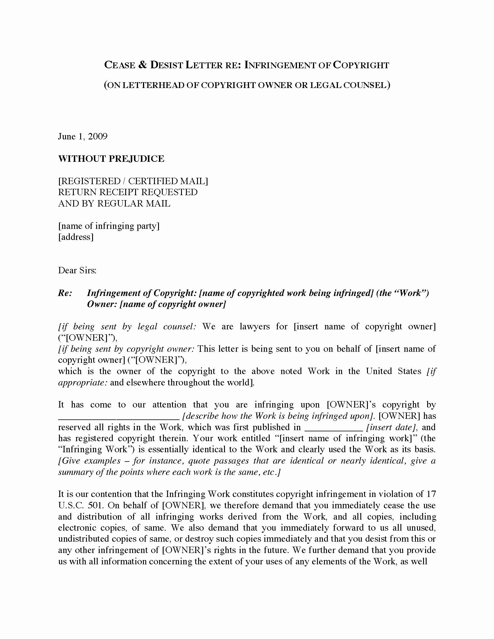 Copyright Cease and Desist Letter Unique Usa Cease and Desist Letter Re Copyright Infringement