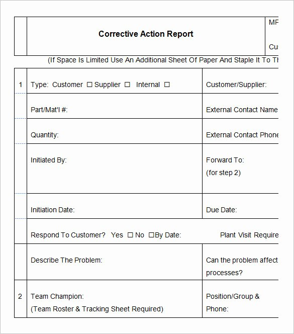 Corrective Action Plan Template Beautiful 8 Corrective Action Report Templates – Free Word Pdf