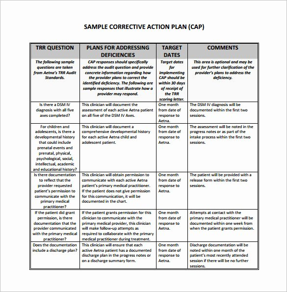 Corrective Action Plan Template Best Of Corrective Action Plan Template 15 Free Sample Example
