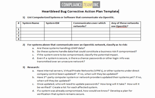 Corrective Action Plan Template Best Of Heartbleed Bug Corrective Action Plan Template