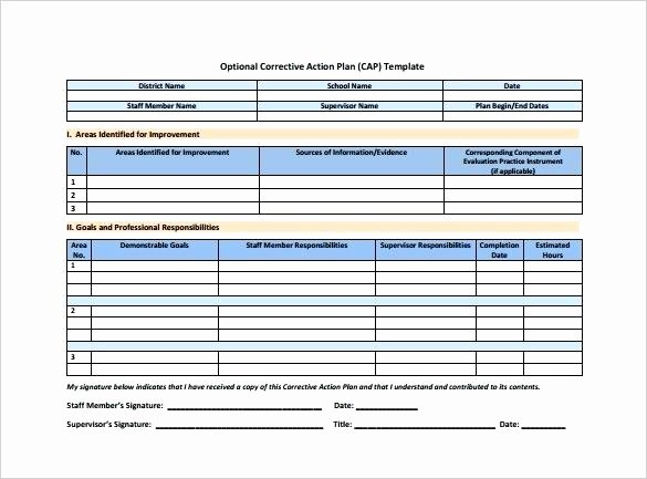 Corrective Action Plan Template Excel Beautiful Optional Corrective Action Plan format Free Template Excel