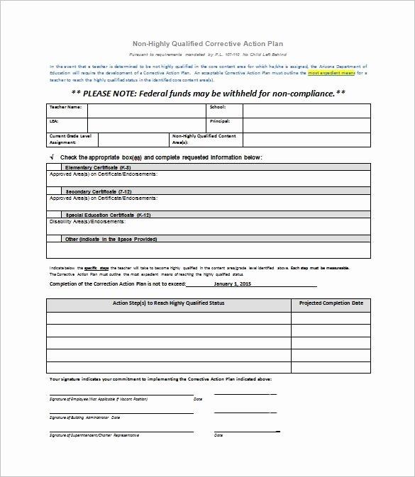 corrective action plan template