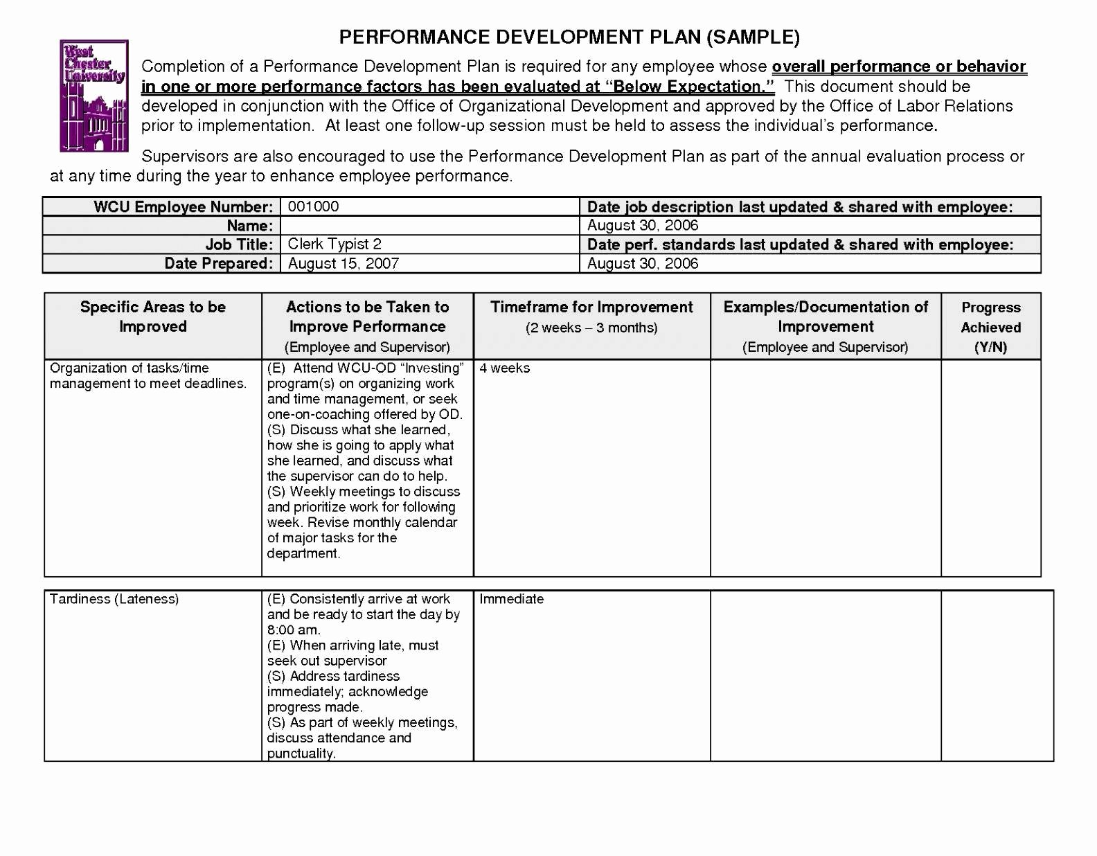 Corrective Action Plan Template Excel Lovely Performance Improvement Plan Letter Template Gallery