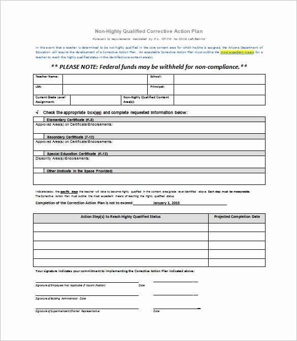 Corrective Action Plan Template Excel New Corrective Action Plan Template 15 Free Sample Example