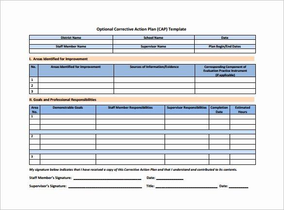 Corrective Action Plan Template Fresh Corrective Action Plan Template 15 Free Sample Example