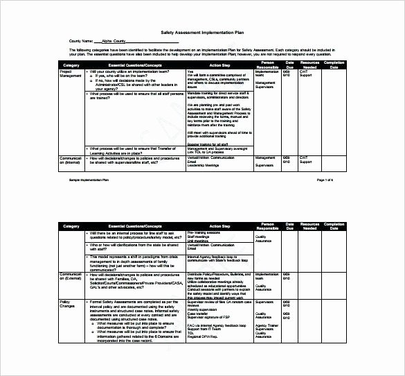 Corrective Action Plan Template Healthcare Elegant Safety Implementation Plan Template Safety Implementation