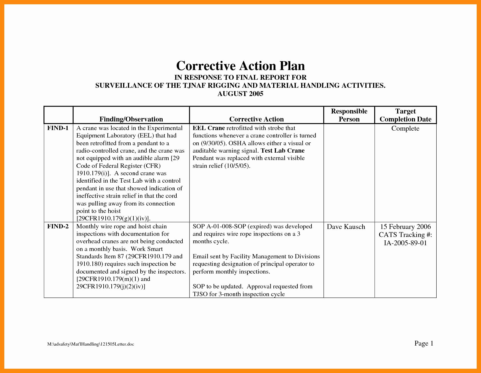 Corrective Action Plan Template Lovely Corrective Action Plan