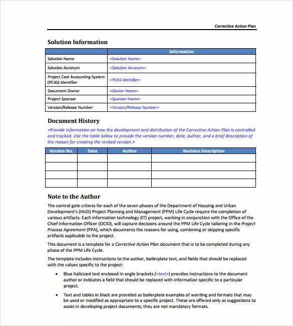 Corrective Action Plan Template Luxury Sample Corrective Action Plan Template 14 Documents In
