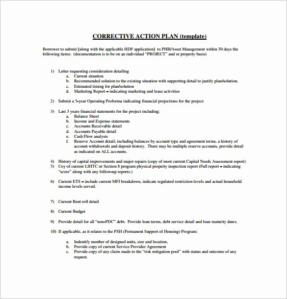 Corrective Action Plan Template Unique Project Action Plan Template 17 Free Word Excel Pdf