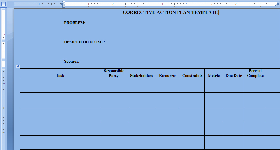 Corrective Action Plan Template Word Fresh Corrective Action Plan Template Word Project Management