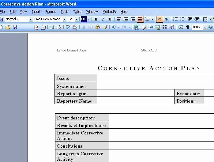 Corrective Action Plan Template Word Inspirational Ware Corrective Action Plan at Download Collection