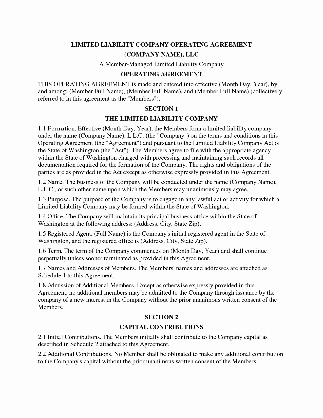 Cottage Operating Agreement Template Fresh 50 Plete Cottage Operating Agreement Template Vo