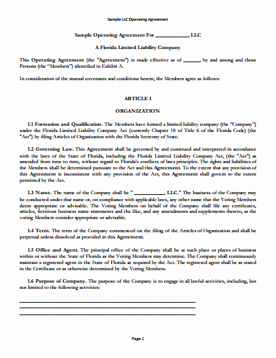 Cottage Operating Agreement Template Inspirational Llc Operating Agreement Template Free Download Create