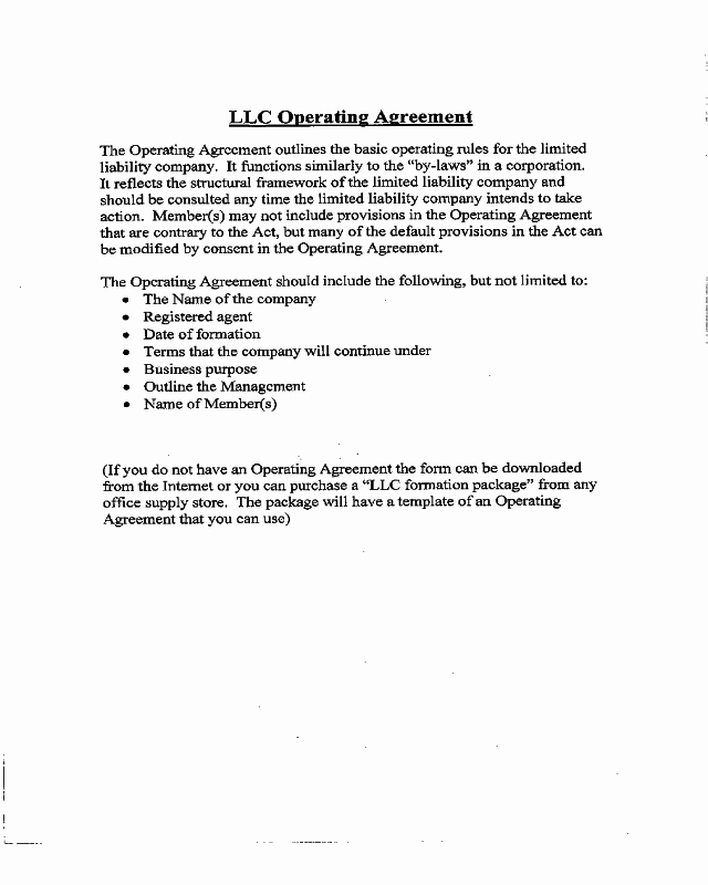 Cottage Operating Agreement Template Lovely 2018 Llc Operating Agreement Template Fillable