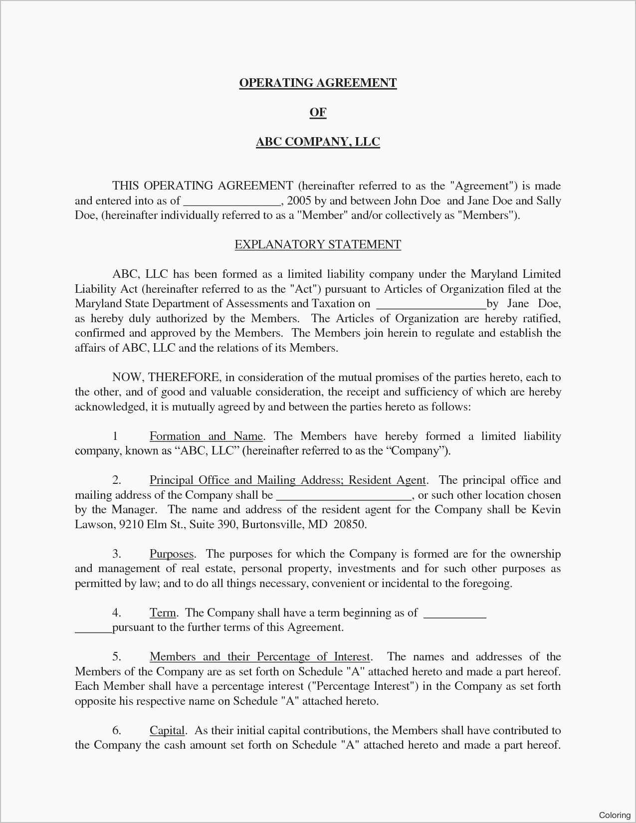 Cottage Operating Agreement Template Lovely Unique Llc Operating Agreement Template California Free
