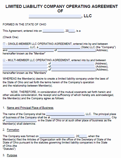 Cottage Operating Agreement Template New Free Ohio Llc Operating Agreement Template Pdf