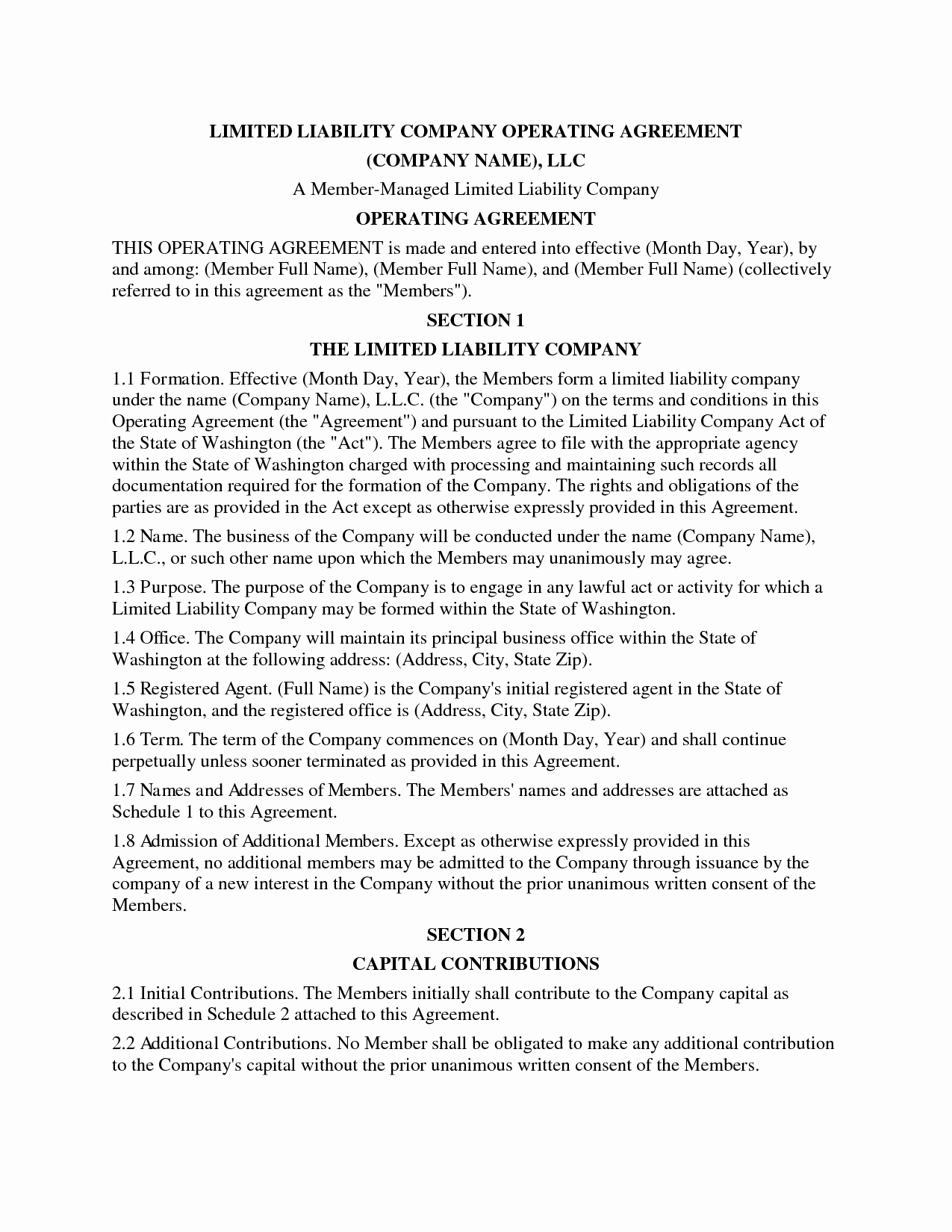 Cottage Operating Agreement Template New Llc Operating Agreement Template