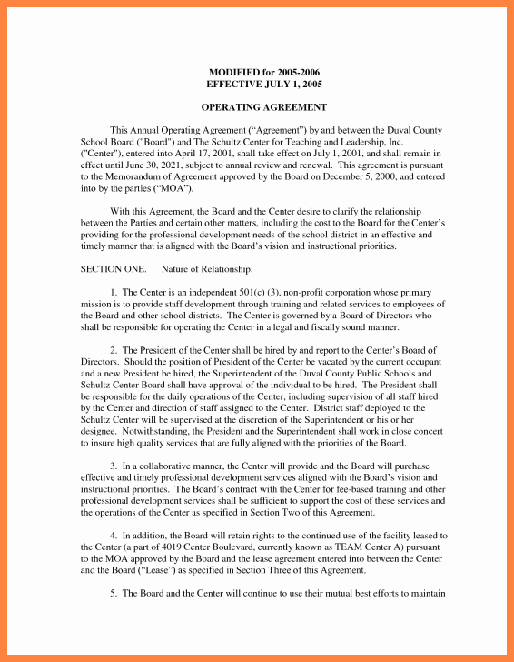 Cottage Operating Agreement Template Unique 9 Operating Agreement Corporation Template