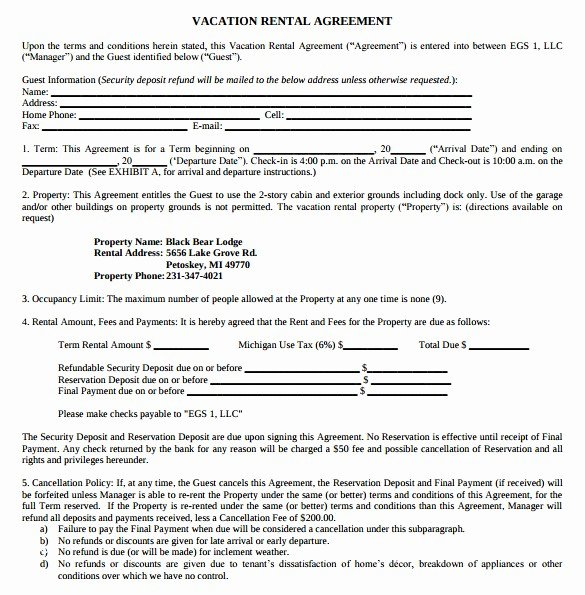 Cottage Operating Agreement Template Unique Sample Vacation Rental Agreement Template