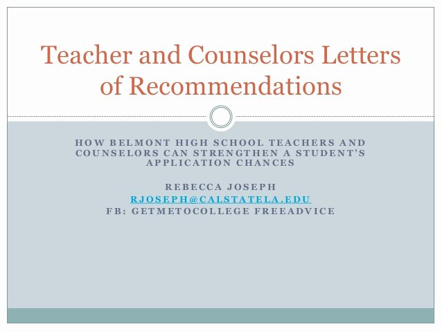 Counseling Letter Of Recommendation Lovely Tips for Writing Powerful Teacher and Counselor Letters Of