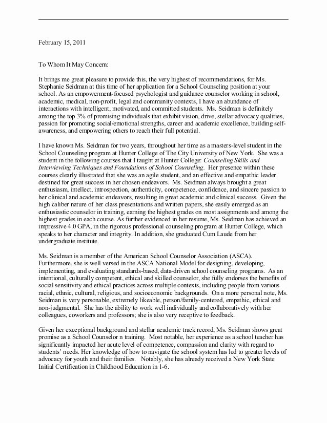Counseling Letter Of Recommendation Luxury School Counselor Letter Of Rec Dr Connor