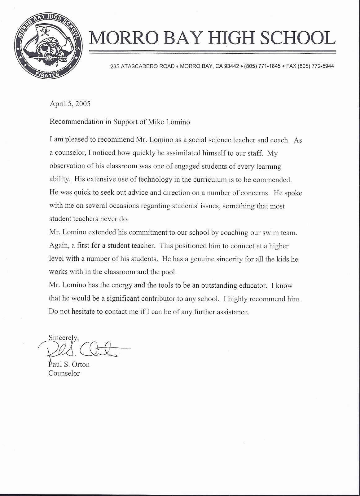 Counseling Letter Of Recommendation Unique Mr Lomino