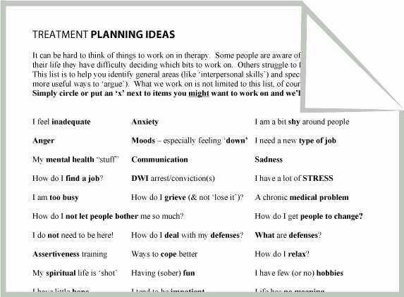 Counseling Treatment Plan Template Fresh Mental Health Treatment Planning Ideas Worksheet Google