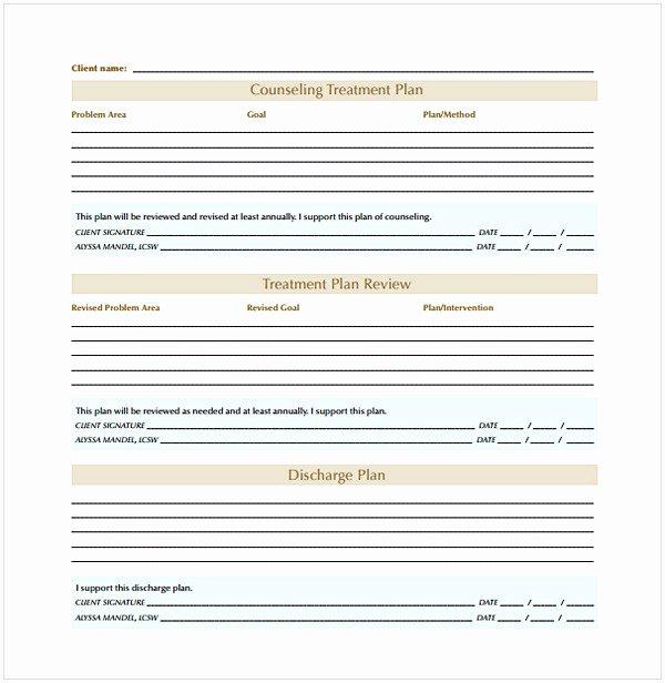 Counseling Treatment Plan Template Unique Counseling Treatment Plan Template Pdf