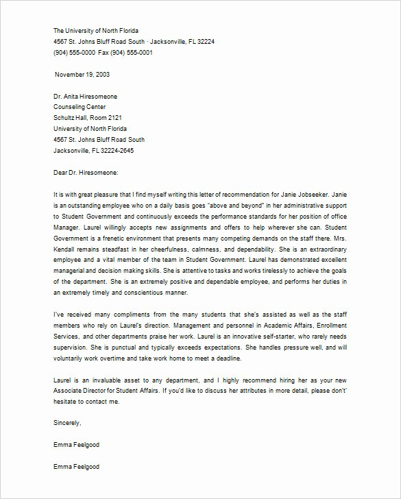 Counselor Letter Of Recommendation Elegant Sample Re Mendation Letter for School Counselor