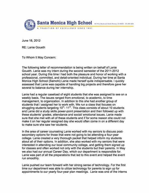 Counselor Letter Of Recommendation Inspirational Letters Of Re Mendation Professional School Counselor