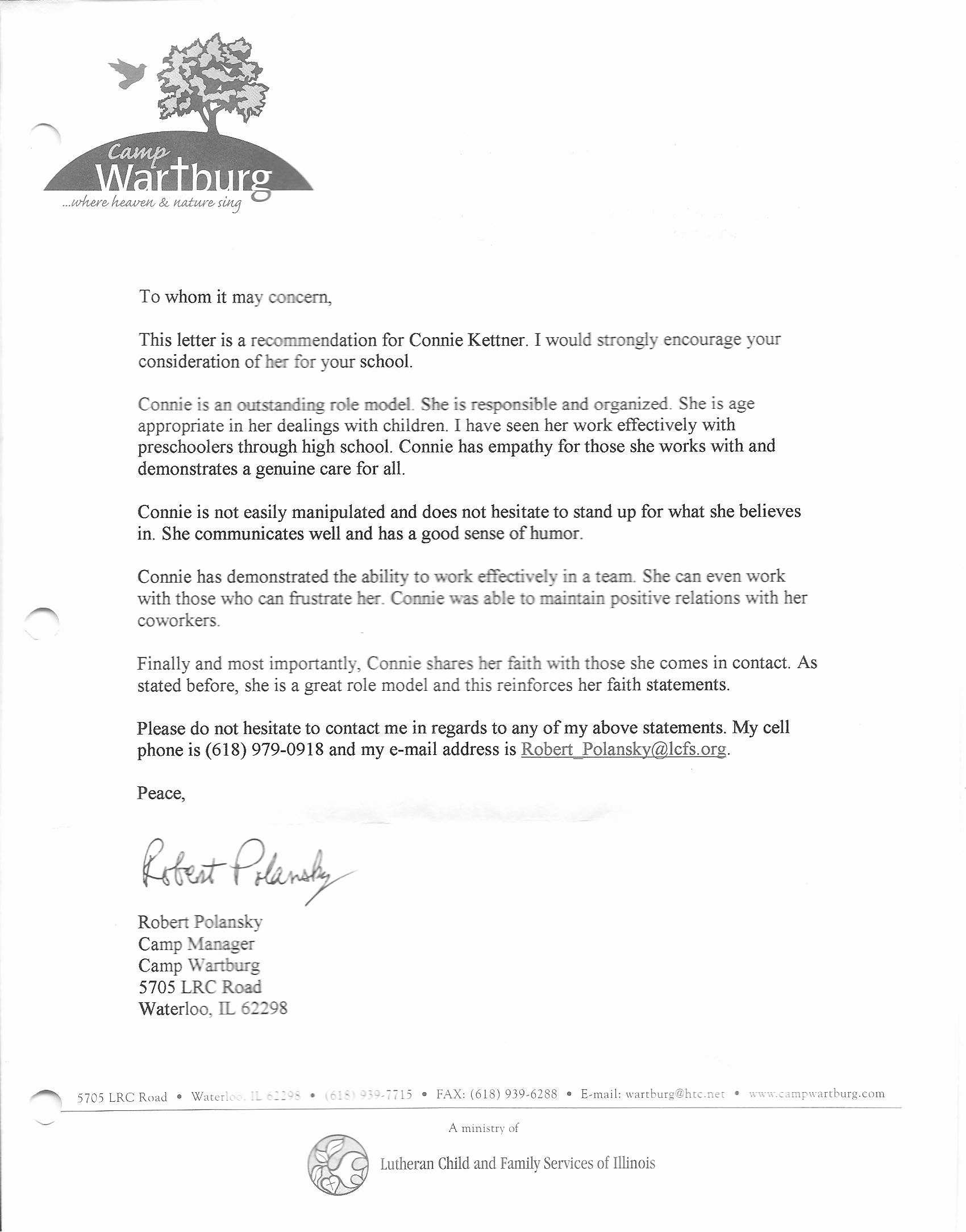 Counselor Letter Of Recommendation Inspirational References