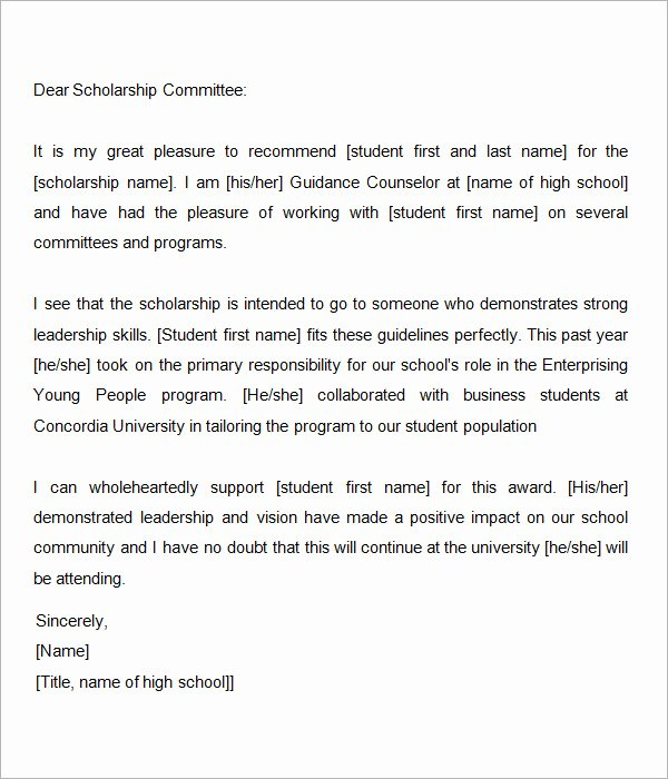 Counselor Letter Of Recommendation New Sample Letter Of Re Mendation for Scholarship 10 Free