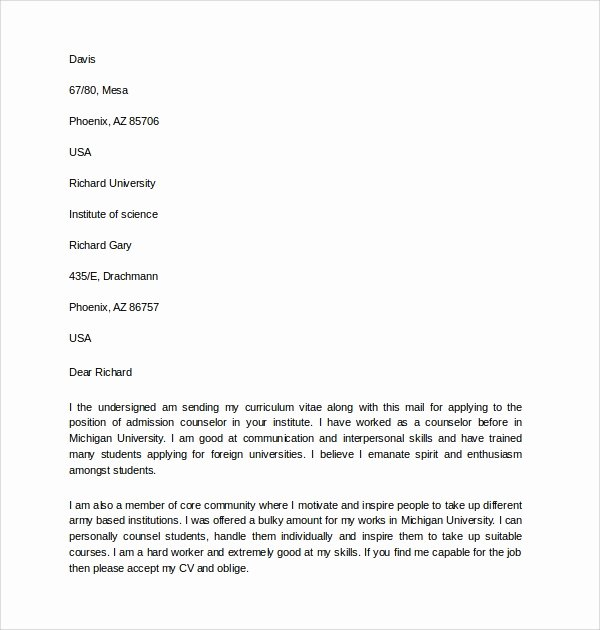Counselor Recommendation Letter Sample Best Of 6 Admissions Counselor Cover Letters to Download