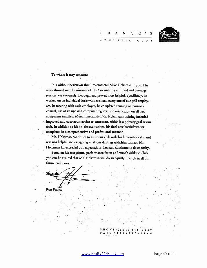 Country Club Recommendation Letter Beautiful Franco S athletic Club