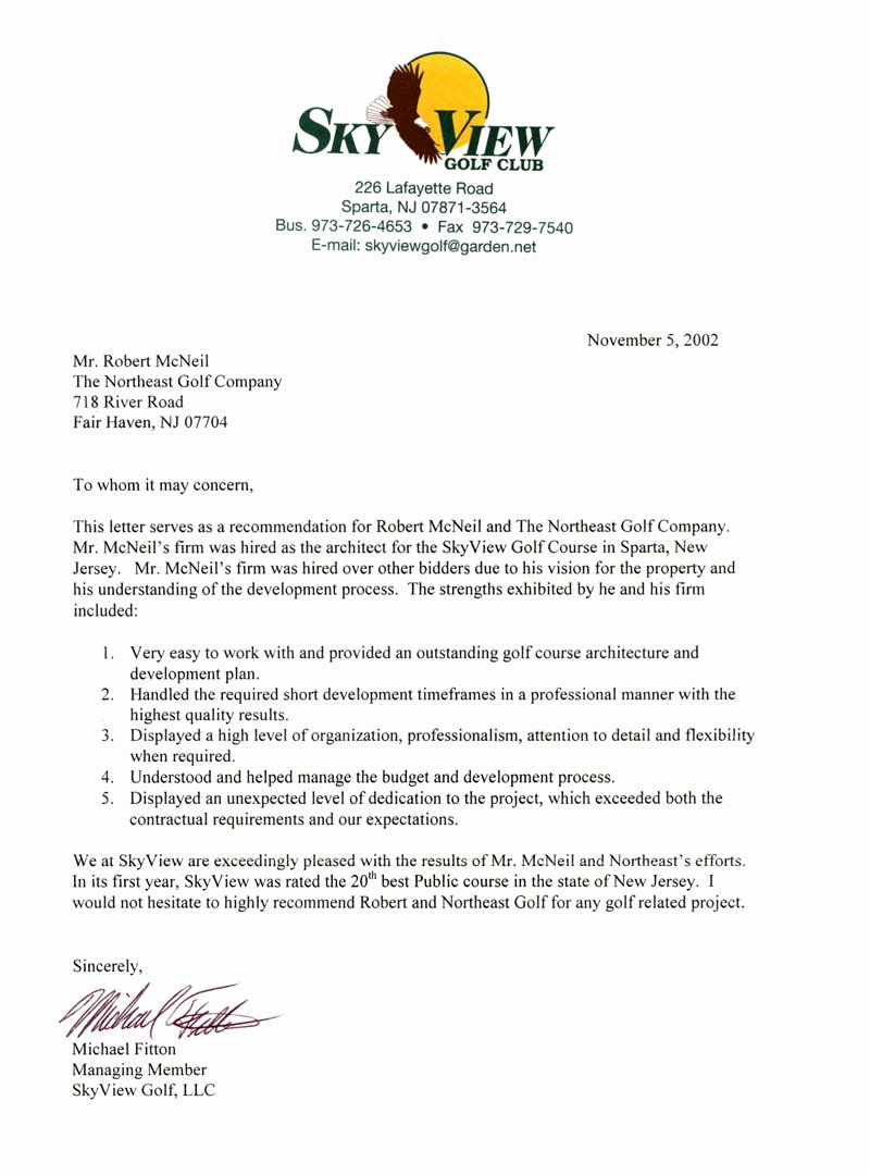 Country Club Recommendation Letter Fresh the northeast Golf Pany –golf Course Architect Robert