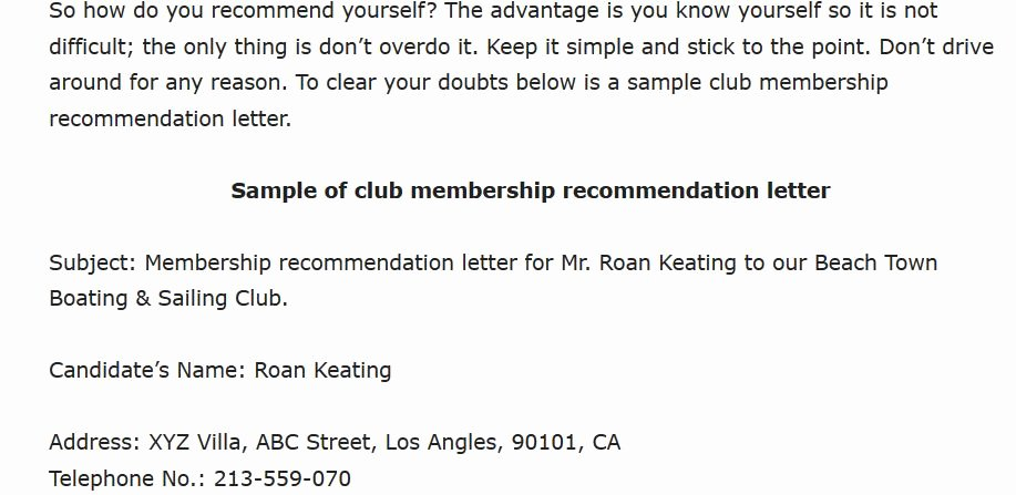 Country Club Recommendation Letter Inspirational Sample Club Membership Re Mendation Letter