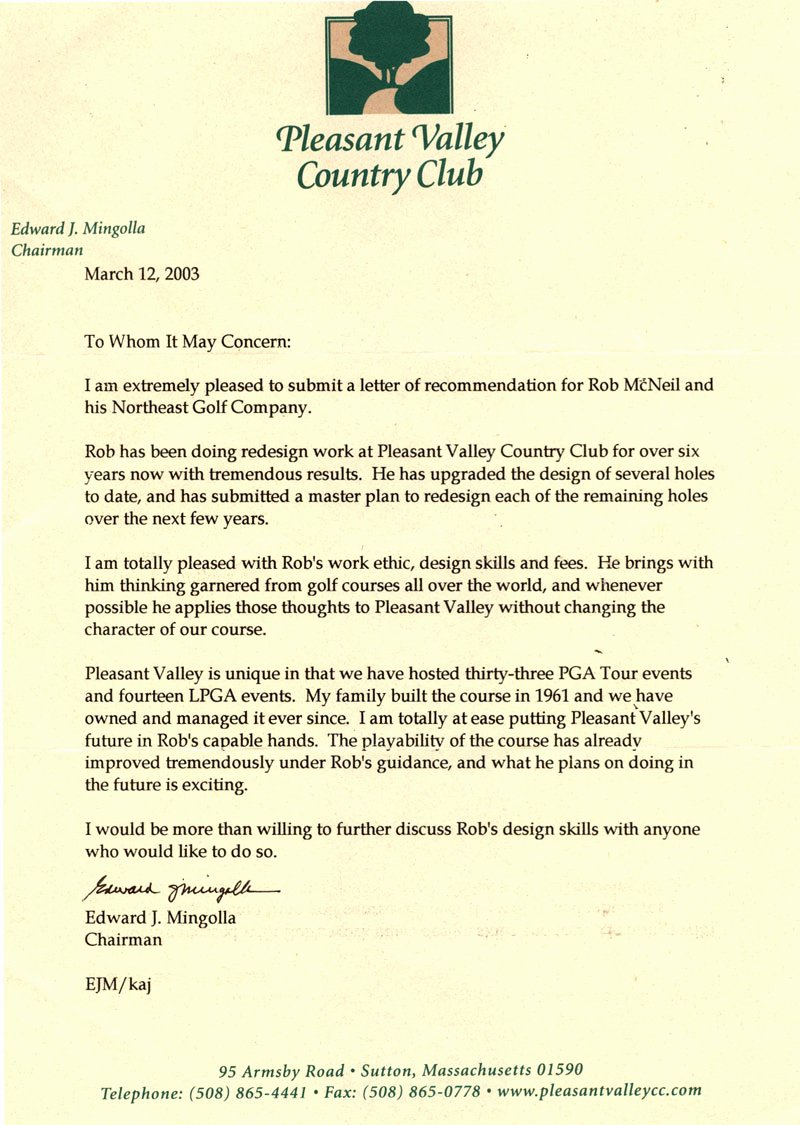 Country Club Recommendation Letter Inspirational the northeast Golf Pany –golf Course Architect Robert