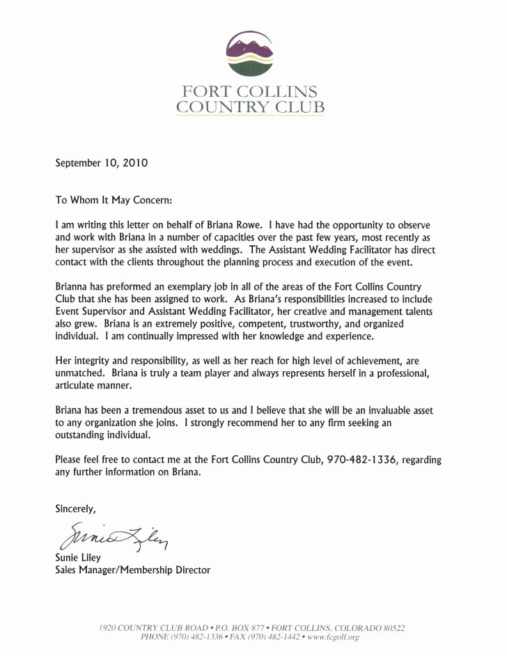 Country Club Recommendation Letter Lovely Letter Of Re Mendation