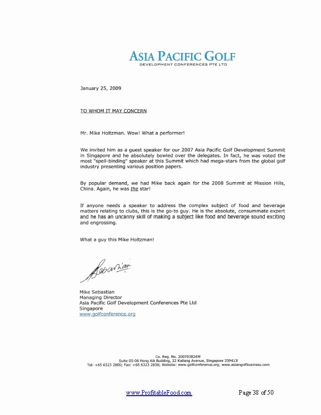 Country Club Recommendation Letter Unique asia Pacific Golf Profitable Food Facilities