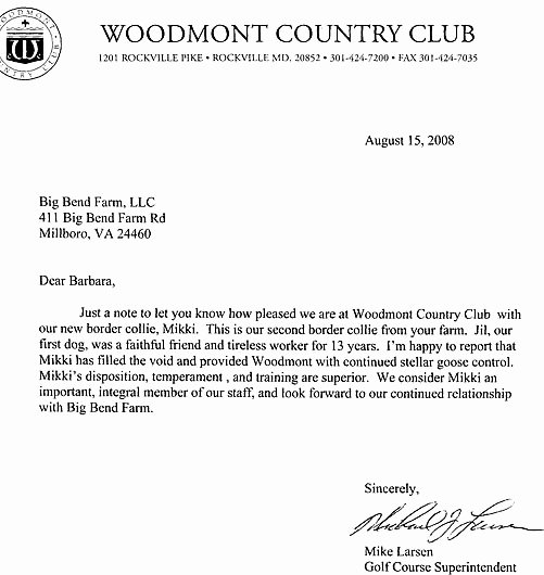 Country Club Recommendation Letter Unique Big Bend Farm References