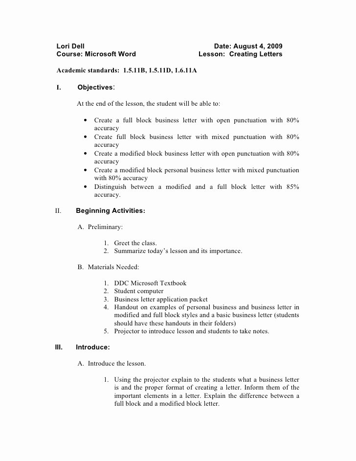 Cover Letter Block format Beautiful Lesson Plan for Interview