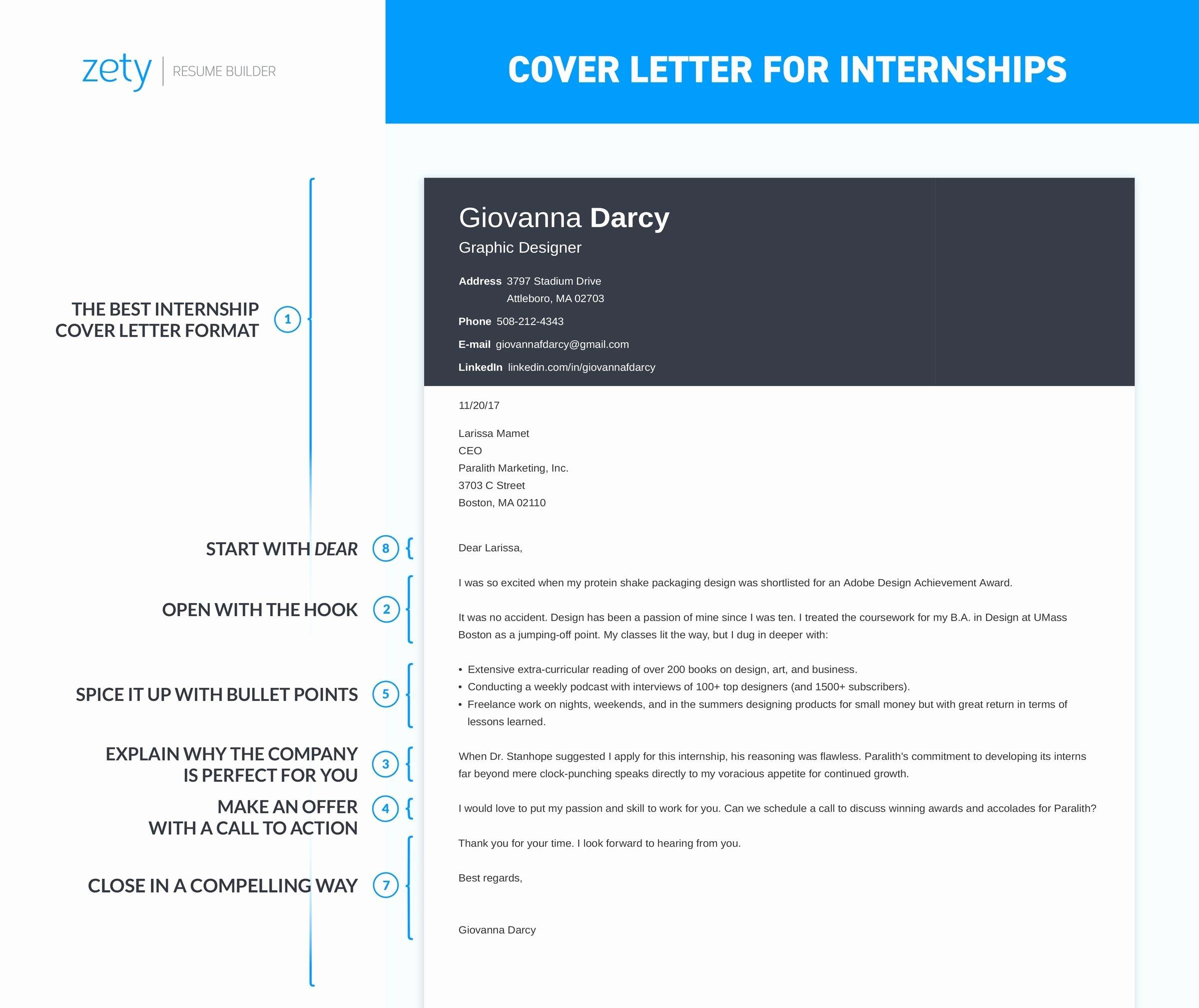 Cover Letter format for Internship Best Of How to Write A Cover Letter for An Internship [ 20 Examples]