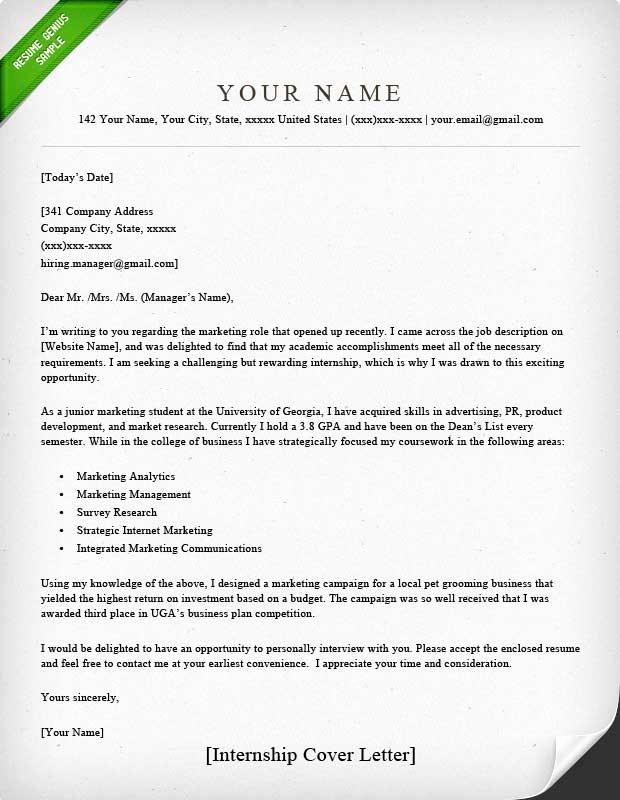 Cover Letter format for Internship Best Of Internship Cover Letter Sample